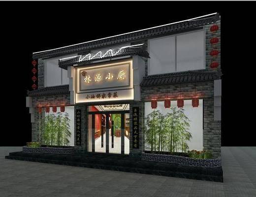 中式, 饭店, 门面, 门头
