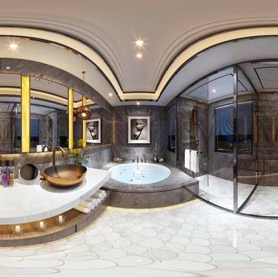 浴室, 卫生间, 洗手台, 挂画, 蜡烛, 毛巾, 玻璃, 吊灯, 现代