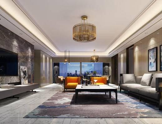 客厅, 现代客厅, 沙发组合, 茶几, 单椅, 吊灯, 挂画, 现代
