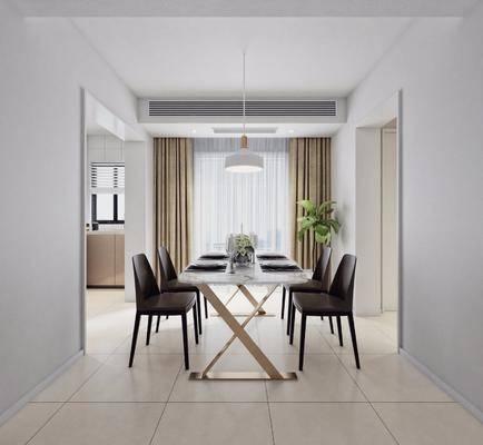 餐厅, 餐桌椅, 现代, 桌椅组合, 北欧, 盆栽, 吊灯