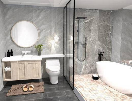 卫浴用品, 洗浴组合, 洗手盆, 壁镜, 马桶