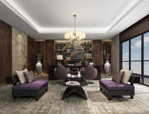 办公署, 新中式办公室, 书桌, 单椅, 书柜, 书籍, 摆件组合, 单人沙发, 茶几, 吊灯, 新中式