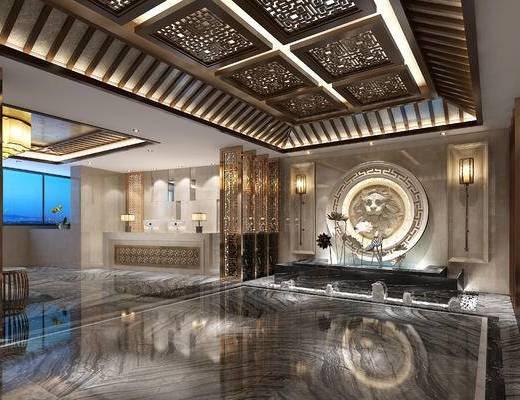 新中式, 干景, 雕塑, 酒店, 大堂, 荷花, 壁灯, 前台