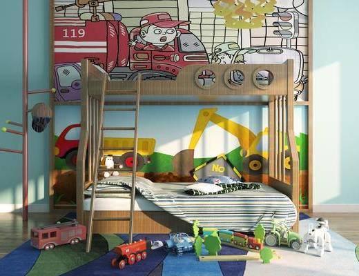 上下床, 双层床, 玩具, 现代