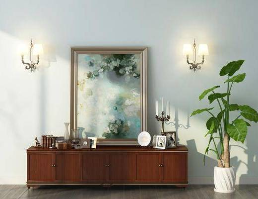 电视柜, 装饰柜, 盆栽, 壁灯, 装饰画, 挂画, 北欧