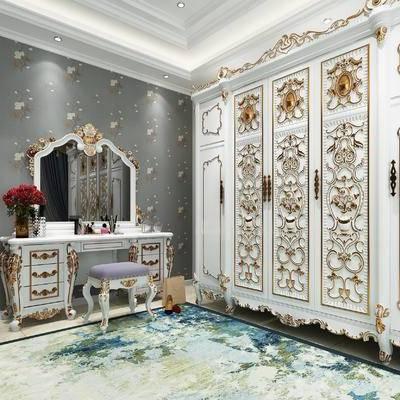 简欧衣柜, 简欧梳妆台, 欧式梳妆台, 欧式衣柜