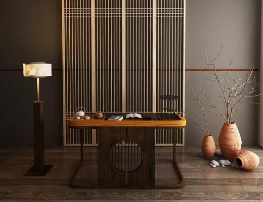 书房, 书桌, 实木书桌, 干树枝, 屏风组合, 新中式