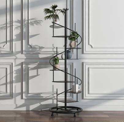 装饰架, 螺旋架, 置物架, 植物架, 现代, 工业风