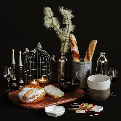 摆件组合, 食品, 烛台