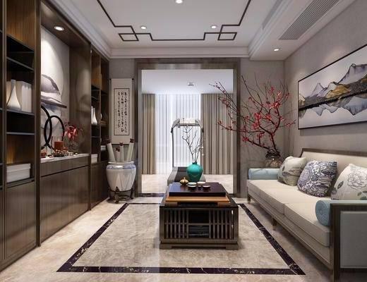 新中式, 书房, 多人沙发, 书柜, 茶几, 挂画, 盘栽
