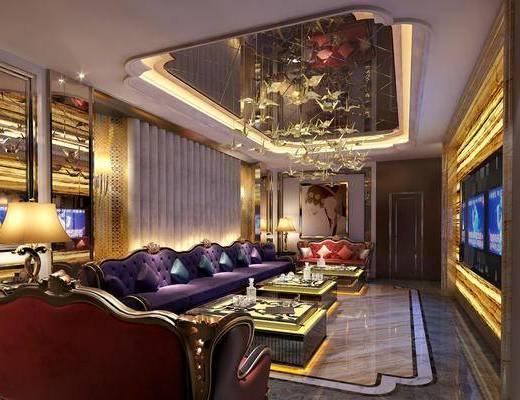 ktv, 多人沙发, 双人沙发, 茶几, 边几, 台灯, 吊灯, 装饰品, 陈设品, 装饰画, 挂画, 美式