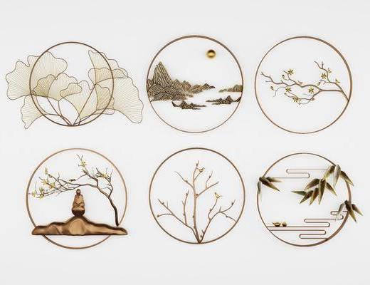 墙饰组合, 挂件, 新中式