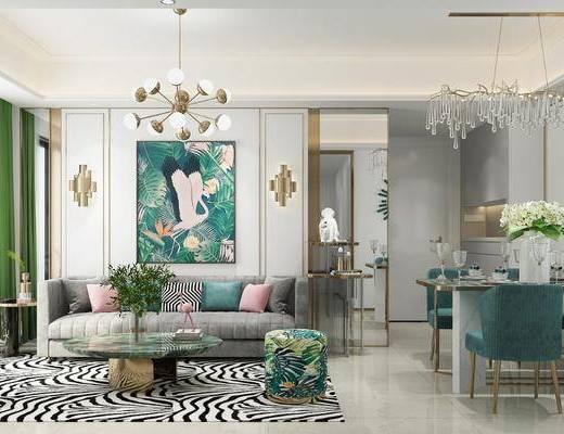 客厅, 餐厅, 多人沙发, 茶几, 动物画, 装饰画, 餐桌, 餐椅, 单人椅, 吊灯, 餐具, 花瓶花卉, 壁灯, 简欧