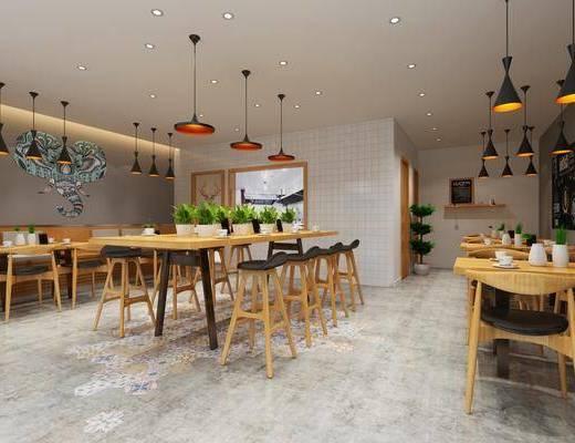 餐厅, 墙饰, 吊灯, 桌椅组合, 装饰画
