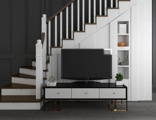 楼梯, 扶手, 电视柜, 储物柜, 现代楼梯电视柜储物柜组合