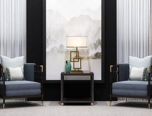 新中式, 单人沙发, 边几, 台灯, 沙发