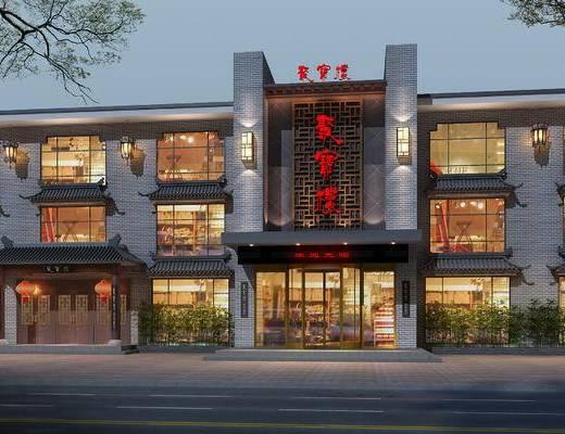 酒店外观, 中式酒店外观, 中式外观, 外景, 门面