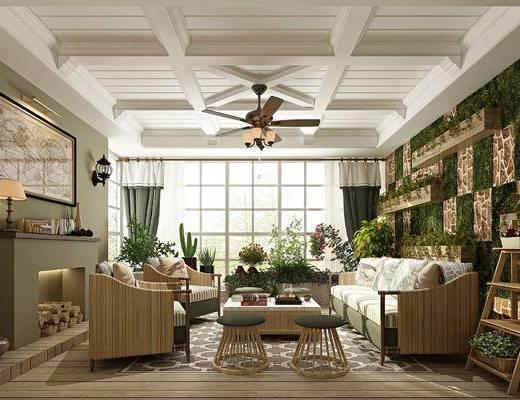 沙发组合, 吊扇, 壁炉, 装饰画, 茶几, 摆件组合