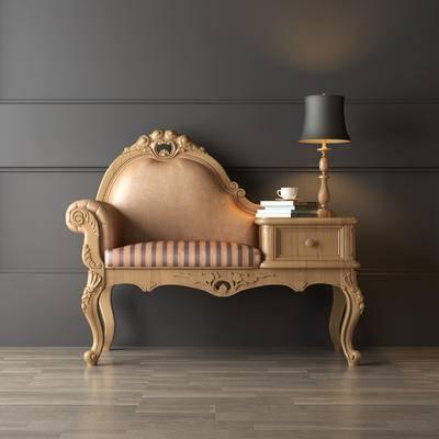 美式, 电话椅, 椅子, 台灯, 书本