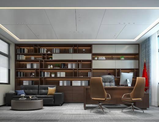 办公室, 办公桌, 沙发组合, 茶几, 文件柜