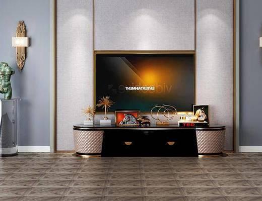 电视柜组合, 边柜组合, 摆件组合, 壁灯, 现代