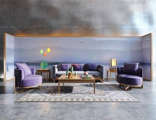 新中式沙发组合, 中式背景, 茶几, 沙发组合, 中式台灯, 中式吊灯