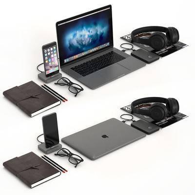 苹果笔记本, 苹果手机, 移动硬盘, 耳机, 眼镜, 文具用品, 笔记本, 现代