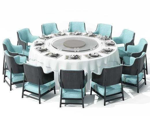 现代, 圆桌, 餐桌, 椅子, 餐具, 杯子