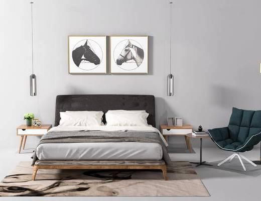床, 床头柜, 装饰画, 吊灯, 椅子