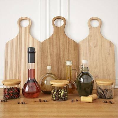 菜板, 食物, 器皿, 玻璃瓶, 现代