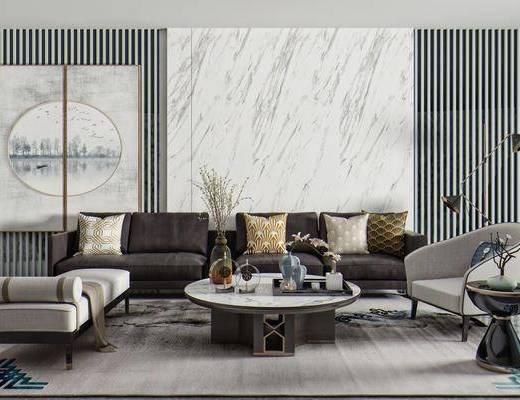 布艺沙发, 单人椅, 茶几, 边几, 矮凳, 饰品摆件, 落地灯, 墙饰挂画