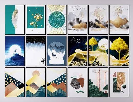 三联画, 抽象, 挂画, 装饰画