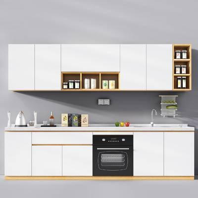 北欧, 橱柜, 厨柜, 现代, 厨具, 热水壶, 置物柜