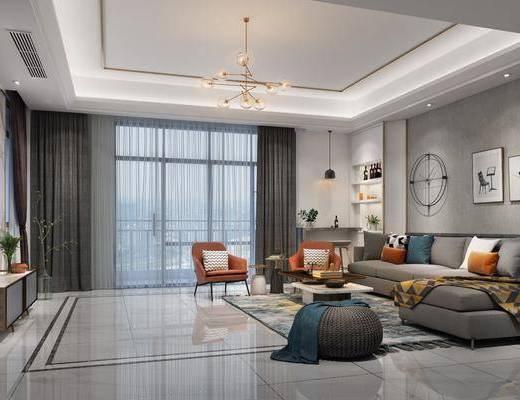 客厅, 多人沙发, 转角沙发, 茶几, 脚踏沙发, 单人椅, 装饰画, 挂画, 吧台吧椅, 吊灯, 电视柜, 边柜, 墙饰, 花瓶植物, 现代