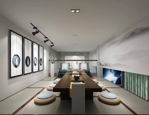茶室, 新中式茶室, 桌椅组合, 挂画, 茶具, 新中式