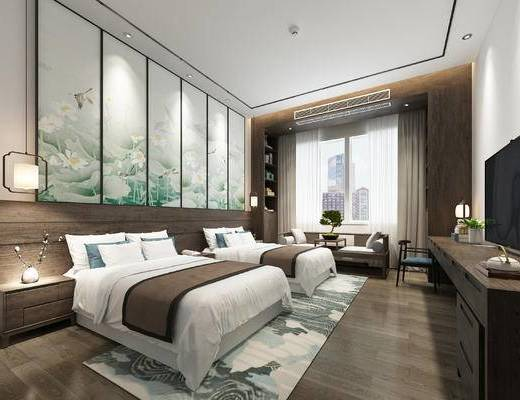 单人床, 地毯, 背景墙, 吊灯, 床头柜