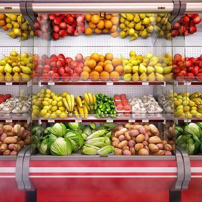现代商场水果蔬菜货架, 现代, 水果