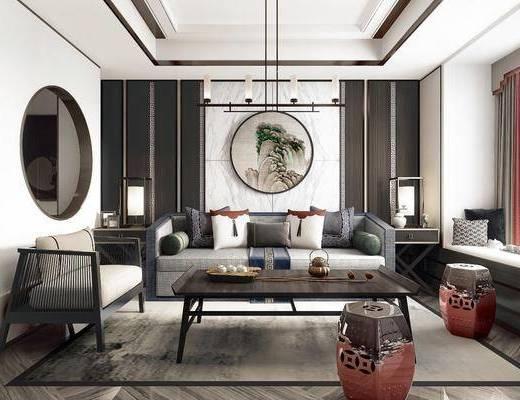 中式客厅, 新中式客厅, 客厅, 沙发组合, 中式沙发
