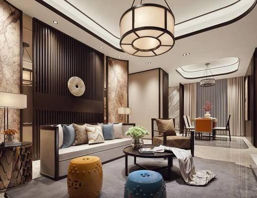 中式, 客厅, 沙发茶几组合, 吊灯, 植物, 沙发椅