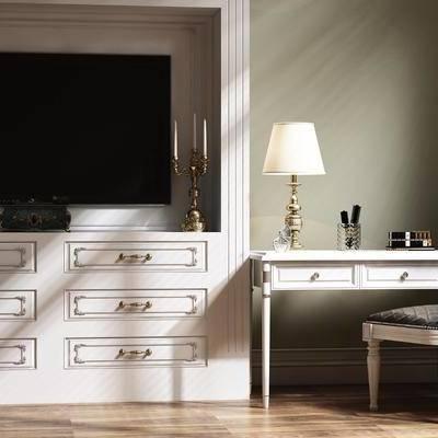 电视柜, 梳妆台, 单椅, 椅子, 台灯, 摆件, 简欧