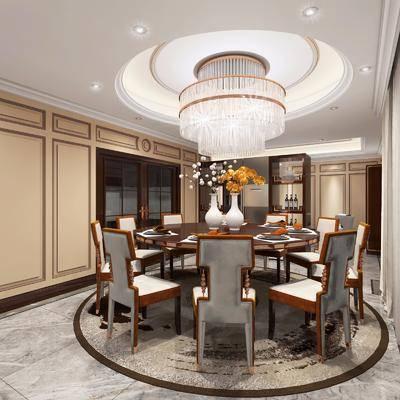 餐厅, 桌椅组合, 餐桌, 圆桌, 单人椅, 餐椅, 吊灯, 餐具, 装饰柜, 水晶吊灯, 摆件, 装饰品, 陈设品, 后现代