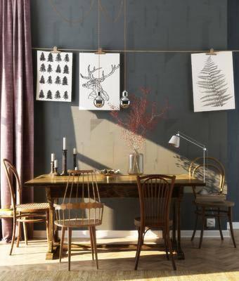 餐桌, 椅子, 后现代, 单椅, 台灯, 书籍, 餐具, 装饰画, 挂画