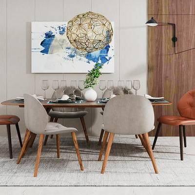 北欧简约, 餐桌椅组合, 吊灯, 餐具组合, 植物盆栽, 北欧