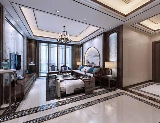 新中式, 客餐厅, 客厅, 餐厅, 多人沙发, 单人沙发, 沙发凳, 吊灯, 电视柜, 边几, 台灯, 餐桌椅, 装饰柜