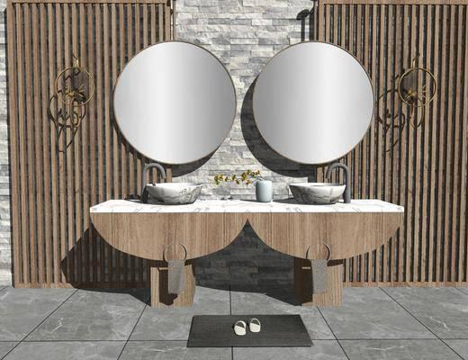 洗手盆, 壁镜, 壁灯, 洗浴用品