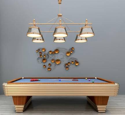 现代, 台球桌, 吊灯, 墙饰, 台球