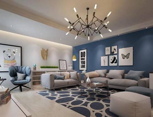 客厅, 多人沙发, 双人沙发, 脚踏沙发, 茶几, 吊灯, 装饰画, 挂画, 照片墙, 电视柜, 装饰柜, 边柜, 单人沙发, 摆件, 装饰品, 陈设品, 台灯, 边几, 北欧