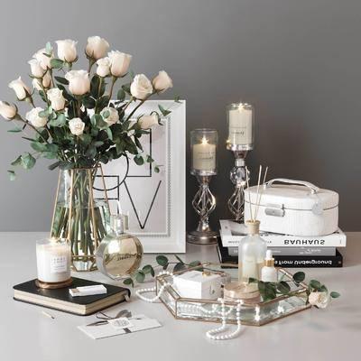 摆件组合, 花瓶花卉, 蜡烛台, 现代