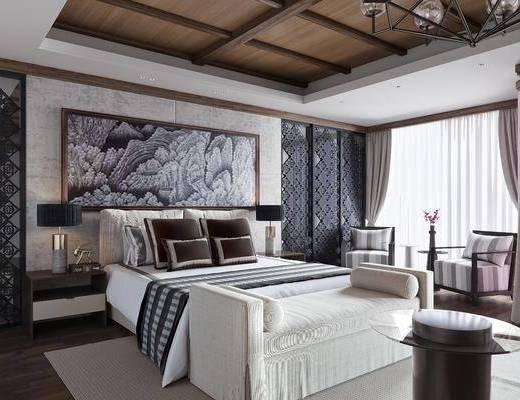 卧室, 双人床, 床头柜, 单人沙发, 床尾凳, 装饰画, 挂画, 台灯, 边几, 茶几, 新中式