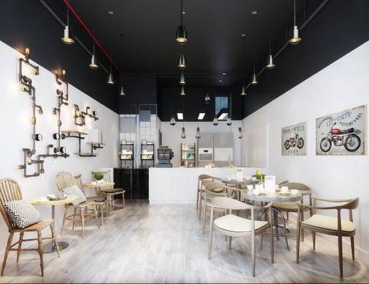 餐厅, 桌椅组合, 吊灯, 装饰画